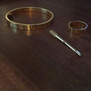 Jewelry - Gold Love Screw Ring and Bracelet